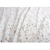 Ivory Guipure Cotton Stretch Lace Fabric By The Yard With 3D Flower Design