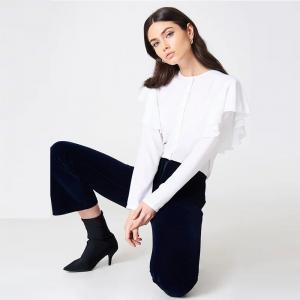Quality New Fashionable Women Formal White Frill Blouse Women wholesale