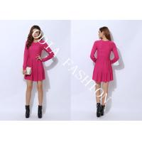 Quality Red Narrow Waist Ladies Sweater Dresses in Crew Neck with Loose Bottom Hip for Spring wholesale