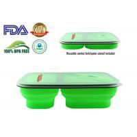 Quality 900 ML Protable Green Tow Compartment Collapsible Silicone Food Containers wholesale
