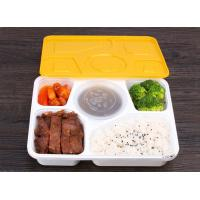 China Safe lock creative lunch box 5 comparment takeaway trays injection molding bento boxes with cover on sale