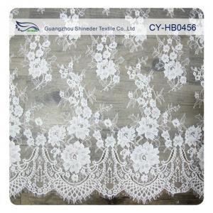 China Wedding Floral Eyelash Lace Trim , Eyelash Lace Fabric Wholesale UL Tested on sale