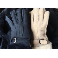 China Black Thick Fur Warmest Sheepskin Gloves With Lambswool Lining Waterproof on sale