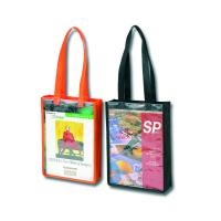 Cheap Silk Screen Printed Non Woven Tote Bag With A4 Clear PVC Window for sale