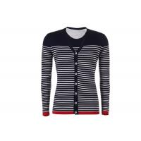 Quality V Neck Mens Knit Cardigan Sweater Button Down , Long Sleeves Striped Cardigan Jacket wholesale