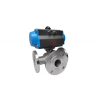China Single Acting Pneumatic Actuated 3 Way Valve , ISO5211 Pneumatic On Off Valve on sale