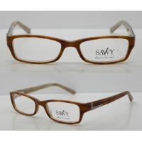 Buy cheap Orange / Black Rectangular Retro Acetate Eyeglasses Frames With Lightweight from wholesalers
