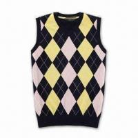 China Men's Modern Sweater Vest, Made of Wool/Cotton, with 180g Weight on sale