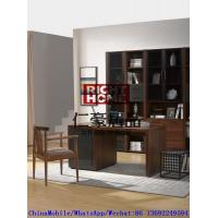 Quality 2016 New Nordic Design Study room Furniture by Walnut wood Office Desk with Armchair and in Wall Bookcase Cabinet wholesale