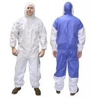 Buy cheap Cat 3 Type 5/6 Microporous Combines SMS Disposable Coverall Suit Asbestos Hooded Coverall from wholesalers