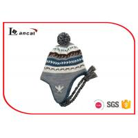 China Grey Cable Knit Trapper Hat Pom And Braid 52cm Kids Winter Hats With Brim on sale