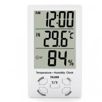 China TA308 Digital LCD Temperature Humidity Meter with Clock Household Thermometer on sale