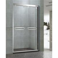 China Mirror Finished Double sliding Glass Shower Doors With Stainless Double square Handles on sale