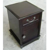 Quality HPL Top Dark Wood Nightstand With Drawers , Narrow Bedside Table Night Stand wholesale
