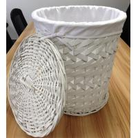 Buy cheap Wood chip D/String with Lining-White laundry or storage basket from wholesalers