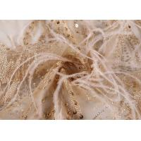 China Metal Sequin Mesh Lace Fabric 3d African Ostrich Feather Width 49 - 50 on sale