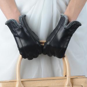 Quality women sheepskin black leather gloves wholesale