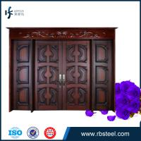 Quality leffeck european antique style double leaf entry wood doors wholesale