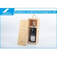 Quality Rectangle Wooden Wine Packing Boxes , Carved Logo Single Wine Packaging Box wholesale