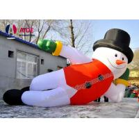Quality 7 M Lying Blow Up Snowman ,Inflatable Christmas Decorations Man With Led Light wholesale