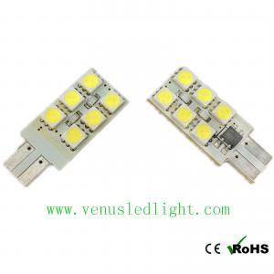 China 12-SMD Side-Shine T10 5050 White LED Light Bulbs on sale