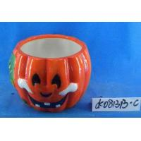 Quality Pumpkin Small Ceramic Flower Pots Ghost Design 15 X 15 X 15 Cm For Halloween wholesale