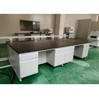 Quality White Wood Lab Workbench Furniture With Steel Frame For High School / Hospital wholesale