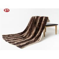 China 50 X 60 Inch Faux Fur Blanket , Warm Striped Dark Brown plush fur reversible Sherpa Throw Blanket For Couch Bed on sale