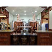 China Semi - Automatic Beer Brewing Equipment Red Copper Brewhouse System In Bar on sale