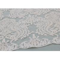 Quality Ivory Sequin Lace Fabrics , Embroidered Bridal Lace Fabrics For Wedding Dresses wholesale