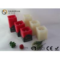 Quality Square Wax Flameless Led Candles Red / Ivory Color For Holiday wholesale