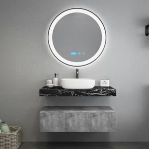 Quality Black Marble Countertops Unique Bathroom Vanities , Touch Mirror Bathroom Sink Vanity Unit wholesale