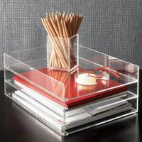 Quality Clear desk top Acrylic Storage Boxes , 2 tier acrylic file holder wholesale