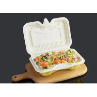 Quality PP Disposable Clamshell Carry Out Food Trays 17.5x12cm White Yellow Color wholesale
