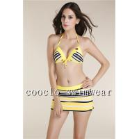 Quality New Women triangle top Halter Neck Padded Backless three piece Swimsuit wholesale
