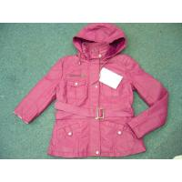 Quality 3,000 piece overstock women's PU hoodie  zipper coats,ready-made cotton padded jacket wholesale