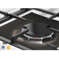 Quality Set Of 4 Black Stovetop Burner Protectors Non Stick Gas Range Protectors , PTFE Fiberglass Fabric wholesale