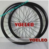 China 700C Carbon Wheels Clincher 38MM White Hubs Black Spokes 3K Glossy on sale