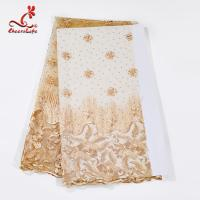 Quality Multi Color Tulle Mesh Embroidered Beaded Lace Fabric Light And Transparent Texture wholesale