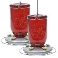 China Perky-Pet Red Mason Jar Glass Hummingbird Feeder - 2 Pack on sale
