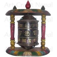 Quality Ritual Objects Metal Prayer's Wheel with Wooden Stand wholesale
