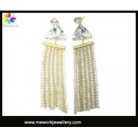 China Stylish tassel beaded chains gold plated stud earring fashion CZ earring on sale