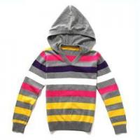 Buy cheap Girls kids stripe V neck reflective hoody pullover sweater from wholesalers