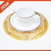 Quality EZS Embossed PVC Foaming Stock Lace Round Elegant Dining Room Table Place Mats wholesale