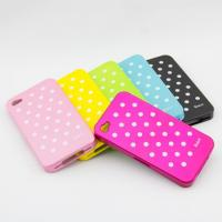 China Fashion white dot colorful pc back cover skin for iphone4s on sale