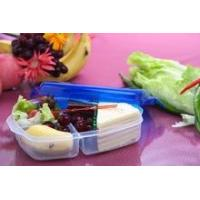 Plastic lunch box 3 compartments for sale