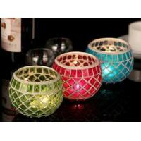 China Wedding Multi-color crackle glass votive candle holder on sale