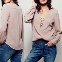 China 2016 new custom women top plunging V-neckline with metal ring design sexy lady long sleeve blouse on sale