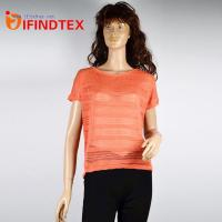 China Top & T-shirts IFD-DX092Ladies knitted T-shirt, 100%polyester on sale