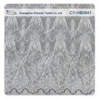 Quality Antique Decorative Eyelash Lace Trim Fabric With Scallop , Floral Lace Trim wholesale